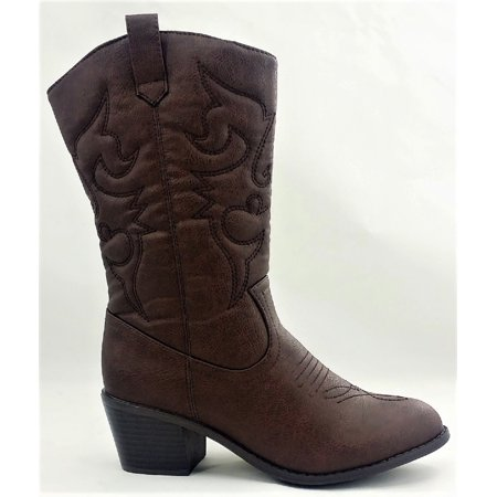 - BDW-14W Western Cowboy Cowgirl Mid Calf Pointed Toe Stitched Boots Brown