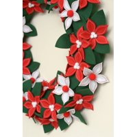 product image holiday time christmas felt poinsettia wreath 22 diameter