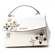 Michael Kors NEW White Leather Ava Floral Applique Satchel Bag Purse