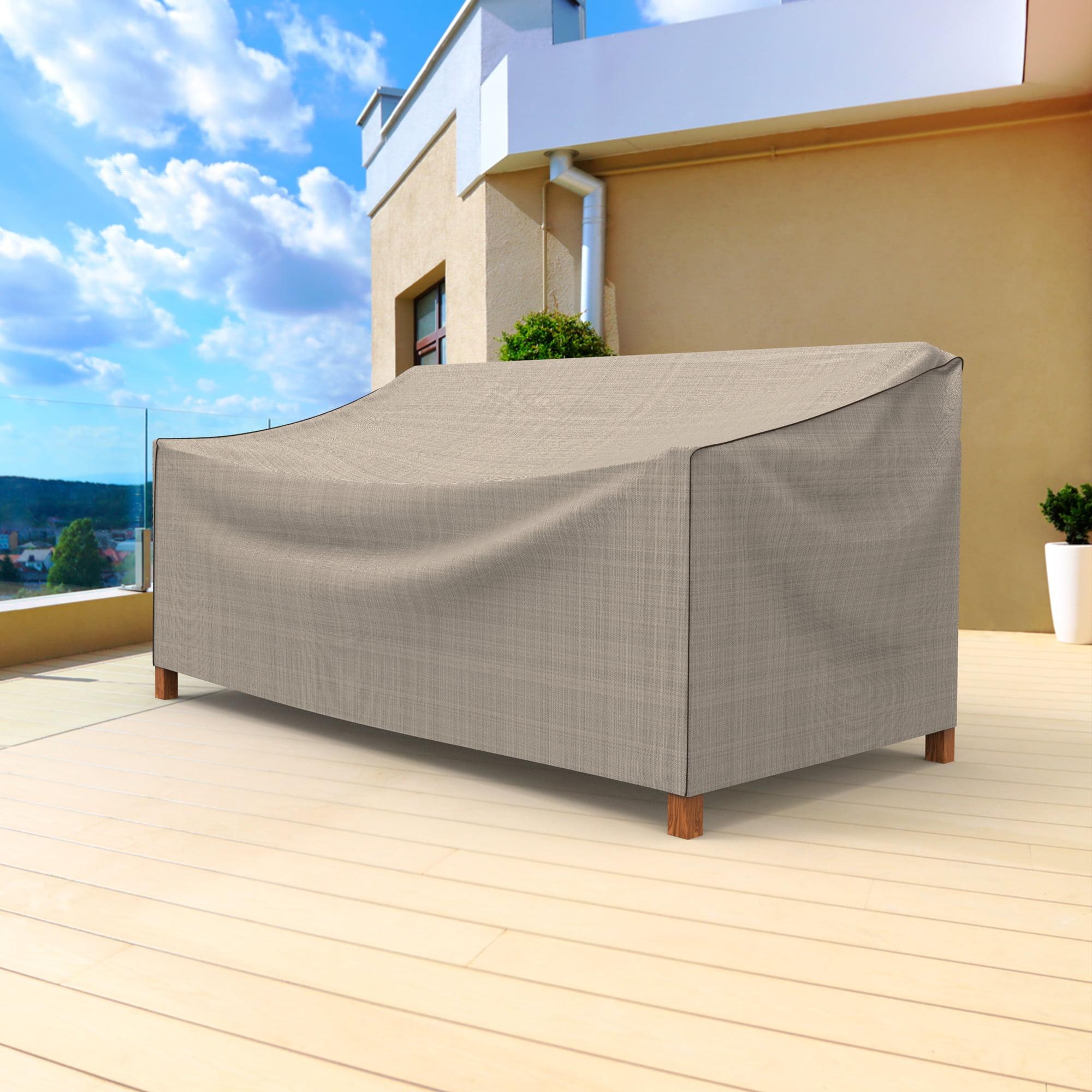 Budge Small Tan Tweed Patio Outdoor Loveseat Cover, English Garden