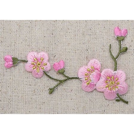Iron Blossom (Cherry Blossom - Pink Flowers - Green Stem - LEFT - Iron on Applique - Embroidered Patch)