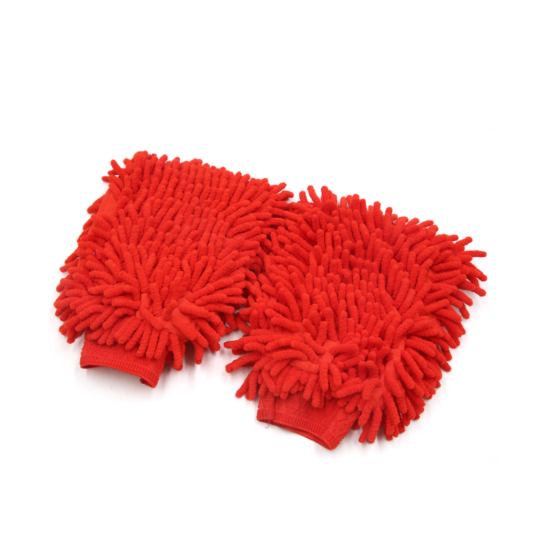 2Pcs Red Double Side Chenille Wash Mitten Cleaning Glove for Car Vehilce Home