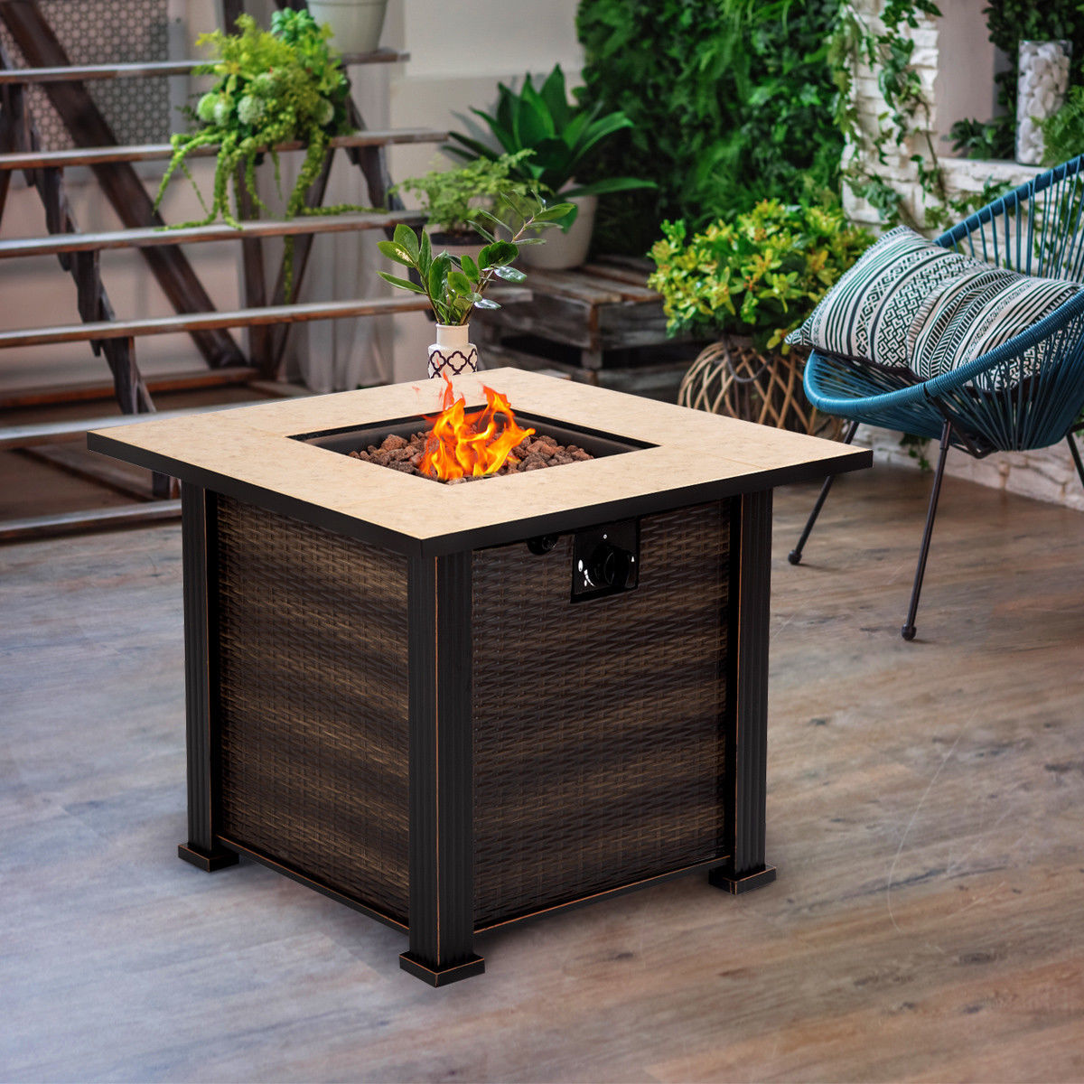 "30"" Square Propane Gas Fire Pit 50000 BTUs Heater Outdoor Table Fireplace Cover 