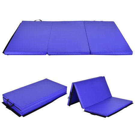 Costway 6'x 4' Tri-Fold Gymnastics Mat Thick Folding Panel Gym Fitness Exercise Blue (Tri Fold Mat)