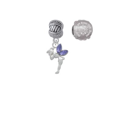 Silvertone Small Fairy with Purple Wings Snowflakes are Kisses from Heaven Charm Beads (Set of 2) ()