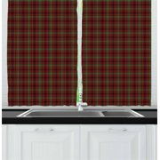 "Plaid Curtains 2 Panels Set, Classic Composition of Squares Tartan Pattern Scottish Style Illustration, Window Drapes for Living Room Bedroom, 55""W X 39""L,Vermilion Green Black, by Ambesonne"