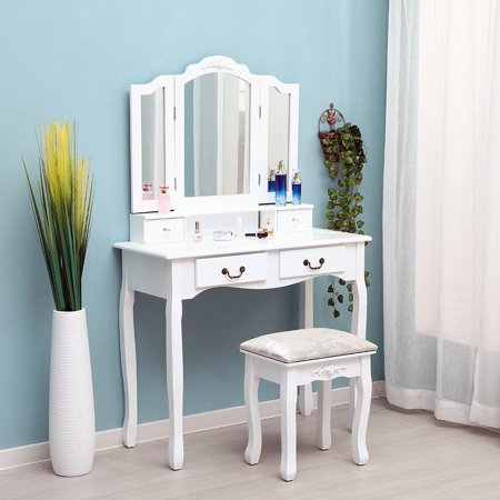 Tri-fold Mirror 4-Drawer Dressing Table with Stool Kit Makeup Mirror Classic Style Delicate Carved Cushioned Bedroom (Womens Tri Kits)
