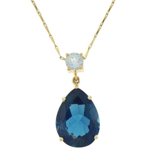Beverly Hills Charm 14k Yellow Gold Swiss and London Blue Topaz Necklace by Overstock