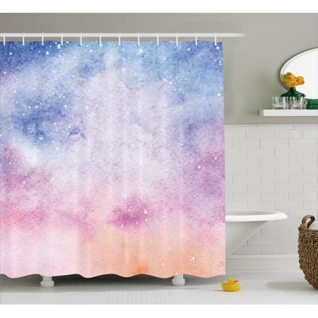 Navy And Blush Shower Curtain Abstract Watercolors Artistic Fantasy Soft Nebula Universe Inspired Fabric