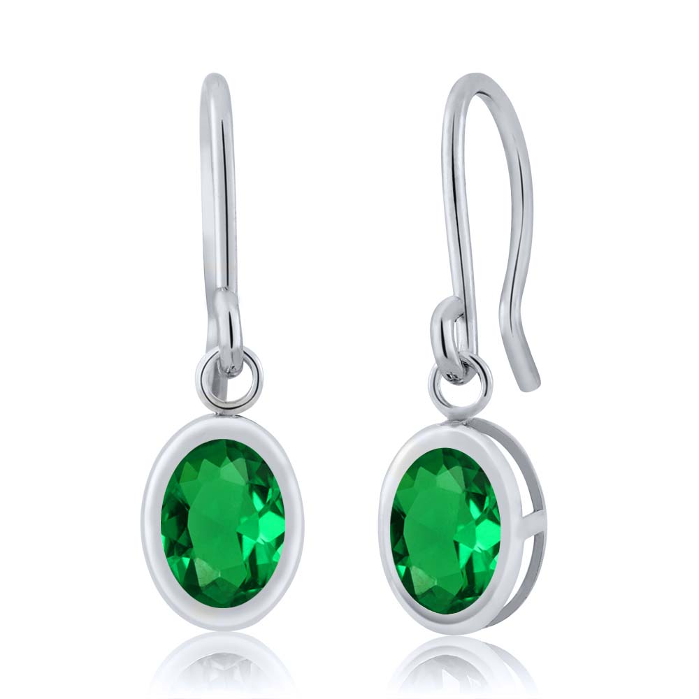1.20 Ct Oval Green Nano Emerald 925 Silver French Wire Dangling Earrings