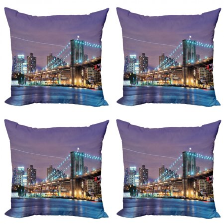City Throw Pillow Cushion Case Pack of 4, Brooklyn Bridge Spanning the East River New York City Metropolitan and Modernized, Modern Accent Double-Sided Print, 4 Sizes, Multicolor, by Ambesonne