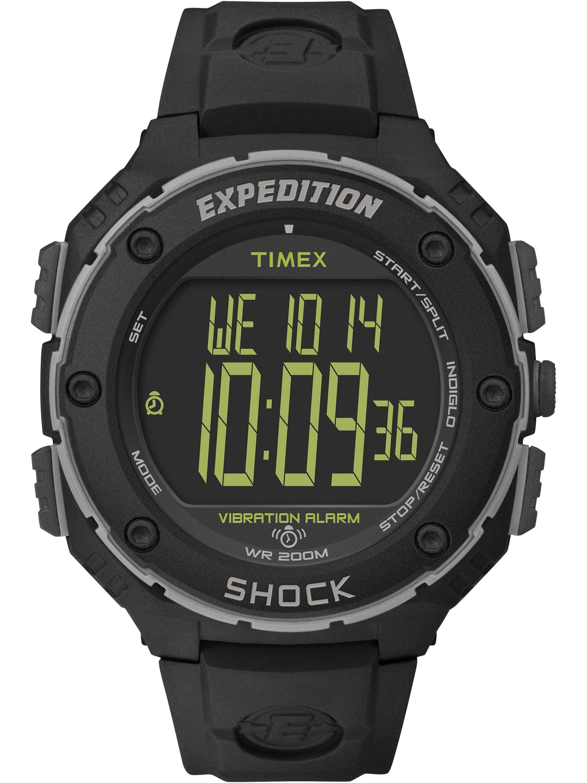 Timex Men's Expedition Shock XL Vibrating Alarm Watch, Black Resin Strap