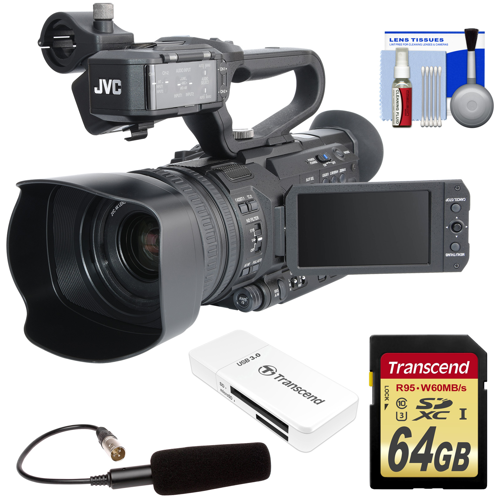 JVC GY-HM170U Ultra 4K HD 4KCAM Professional Camcorder & Top Handle Audio Unit with XLR Microphone + 64GB Card... by JVC