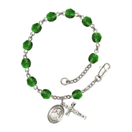 St. Thomas the Apostle Silver Plate Rosary Bracelet 6mm May Green Fire Polished Beads Crucifix Size 5/8 x 1/4 medal