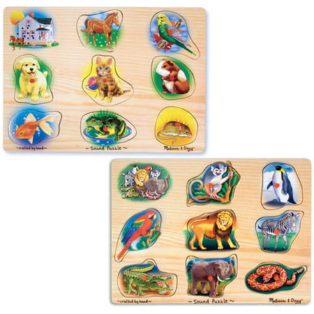 Melissa & Doug Sound Puzzles Set: Pets and Wild Animals, 8-Piece Wooden Peg Puzzles