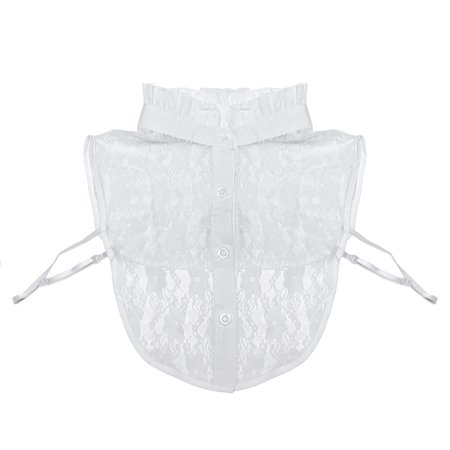 Wrapables® Delicate Floral Lace Half Shirt with Ruffle Faux Collar, White