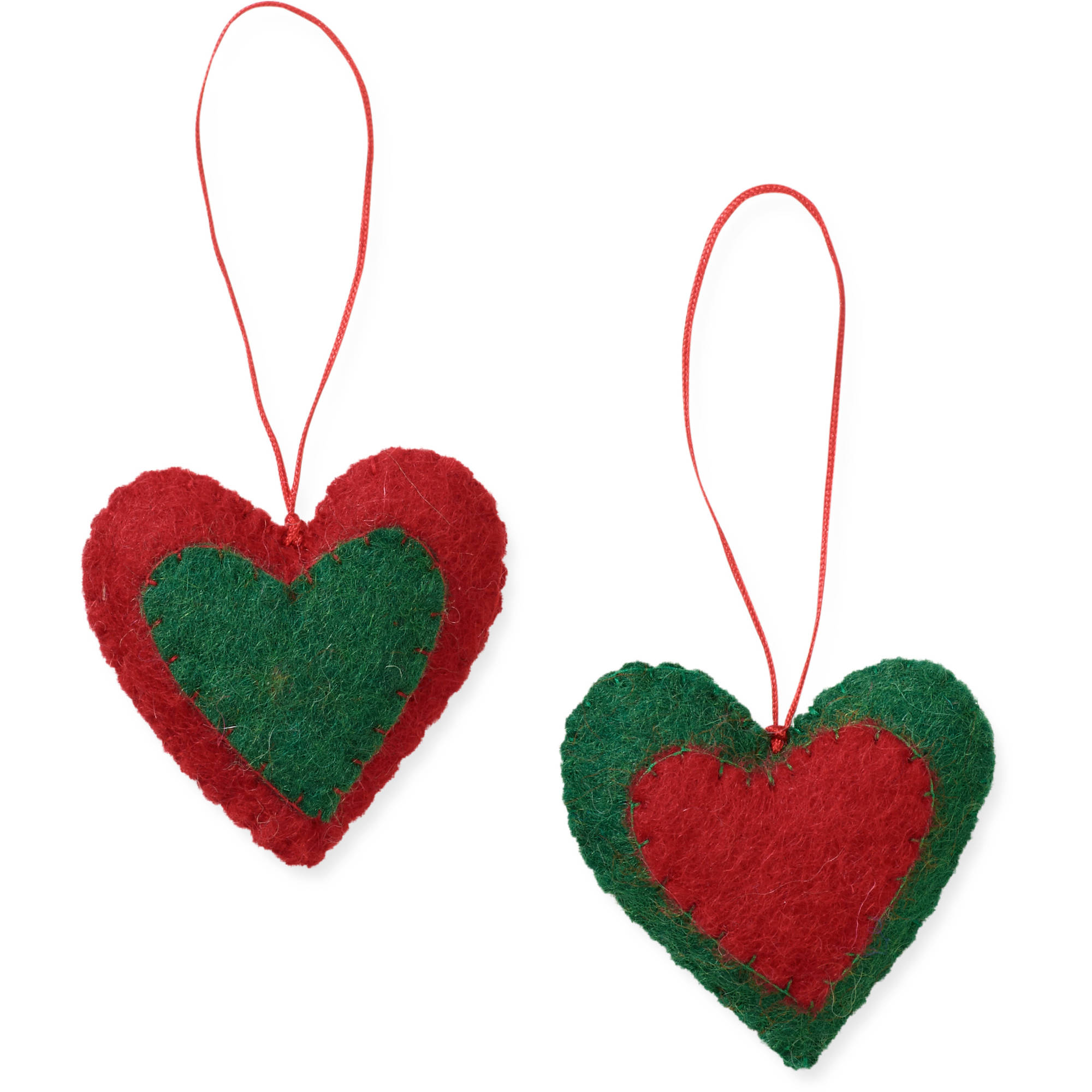 2-Piece Heart Ornament Set by Friends Handicrafts for Global Goods Partners