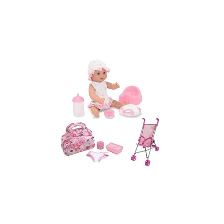 "Melissa & Doug Annie - 12"" Drink and Wet Doll with Diaper Bag and Stroller Set"