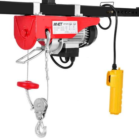 Aluminum Electric Hoist (Gymax Mini Electric Wire Hoist Remote Control Garage Auto Shop Overhead)