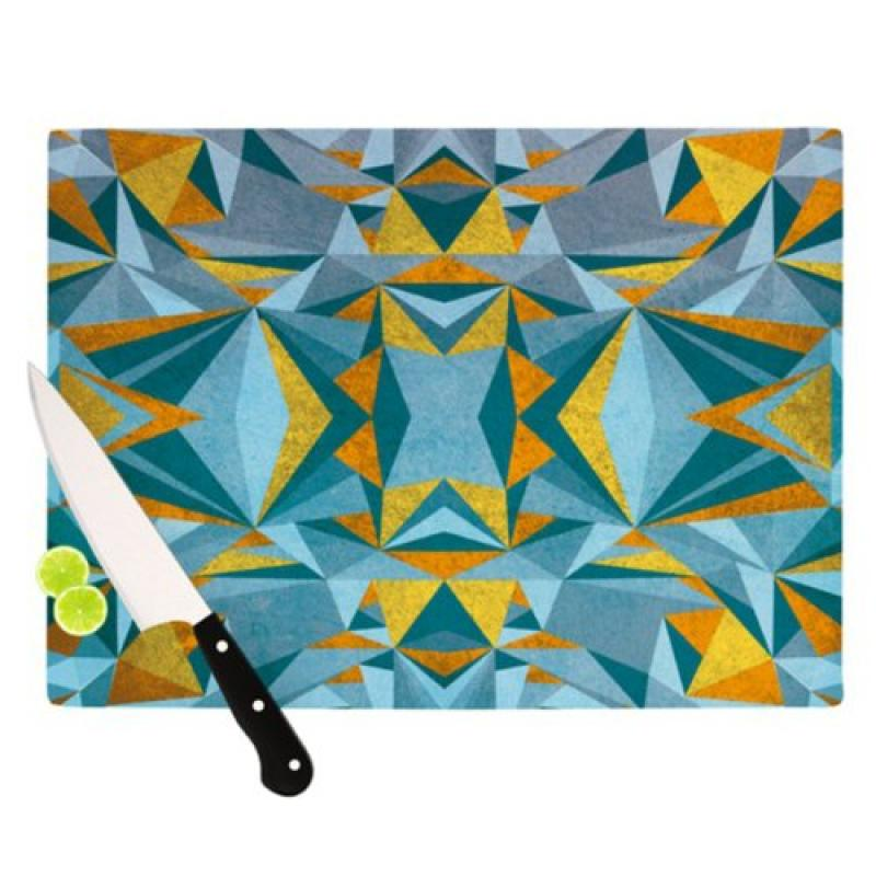Kess InHouse Nika Martinez Abstraction Blue Gold Cutting Board, 11.5 by 8.25-Inch