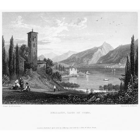 Italy Bellagio 1832 Nlake Como (Lago Di Como) In Bellagio Italy Steel Engraving English 1832 Rolled Canvas Art -  (24 x (Bellagio Finish)