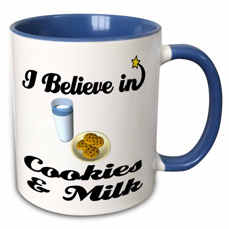 3dRose I Believe In Cookies And Milk - Two Tone Blue Mug, 11-ounce