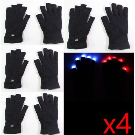 8 gloves ( 4 pairs ) of 7 Mode LED Light Up Flashing Red Blue Green Glow Rave Black White Finger Party Gift Gloves