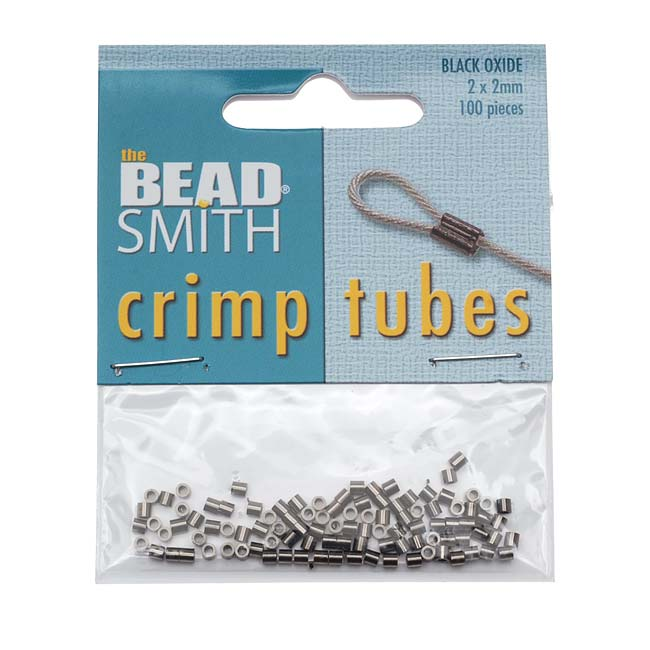 Beadsmith Black Ox / Gunmetal Crimp Tube Beads 2x2mm (100)