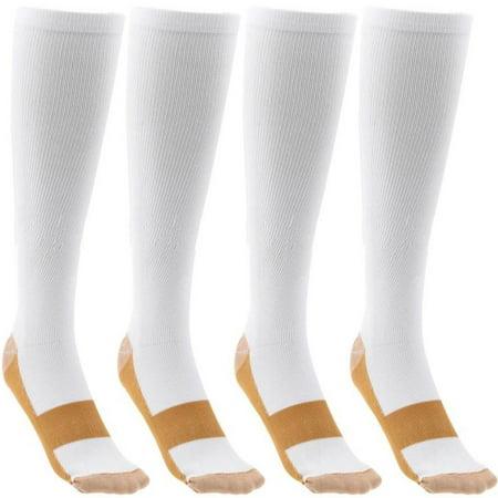 4 pair copper infused compression socks white knee high unisex anti odor nursing compression socks by juniper's secret free eyeglass pouch