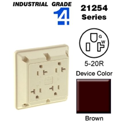 Leviton 21254 4-In-1 Quad Receptacle Industrial Grade 5-20R 20A 125V - Brown