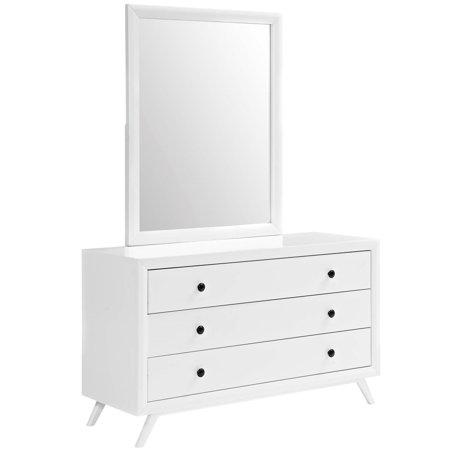 Modern Contemporary Urban Design Bedroom Dresser and Mirror, White, Wood