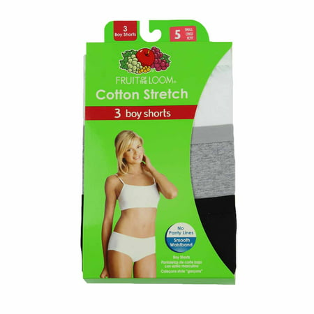 Fruit of the Loom Womens 3-Pack Cotton Stretch Boy Short Panties (White/Grey/Black, 5)