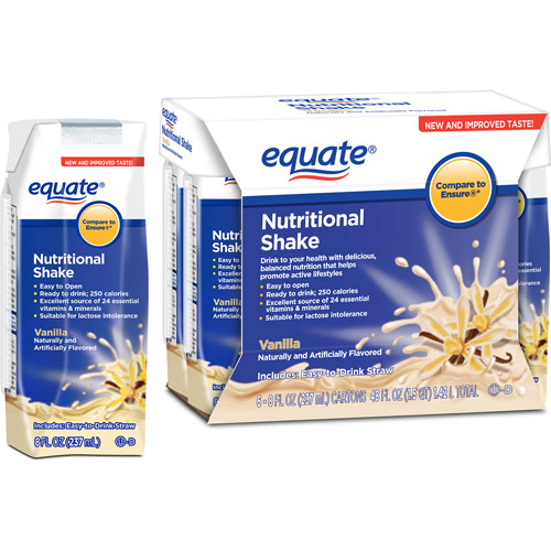 Equate Vanilla Nutritional Shake, 8 fl oz, 6 count