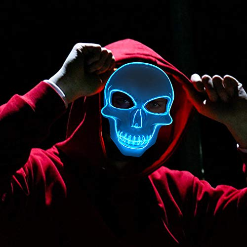 Not So Scary Halloween Party (Light Up Mask Halloween Cosplay LED Scary Death Skull Mask EL Wire Mask for Festival)