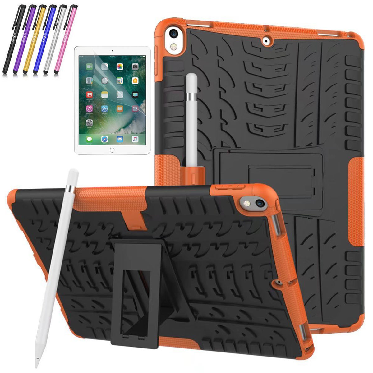 iPad Pro 10.5 inch Case, Mignova Hybrid Protection Cover Built-In Kickstand Skin Case For Apple iPad Pro 10.5 inch 2017 Release A1701 / A1709 + Screen Protector Film and Stylus Pen (Black)
