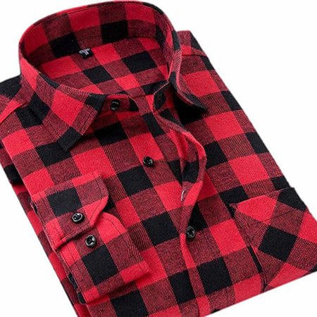 Men's Flannel Shirt Brushed Cotton Long Sleeve Male Plaid Shirts Casual Top (Mens Brushed Check Shirt)