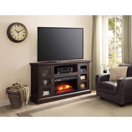Whalen Media Fireplace Console for TVs up to 70″, Dark Rustic Brown