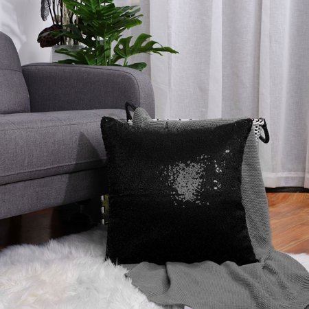 Decorative Sequin Throw Pillow Covers,Shiny Comfy Couch Cushion Covers for Party,16x16 inches, Black ()