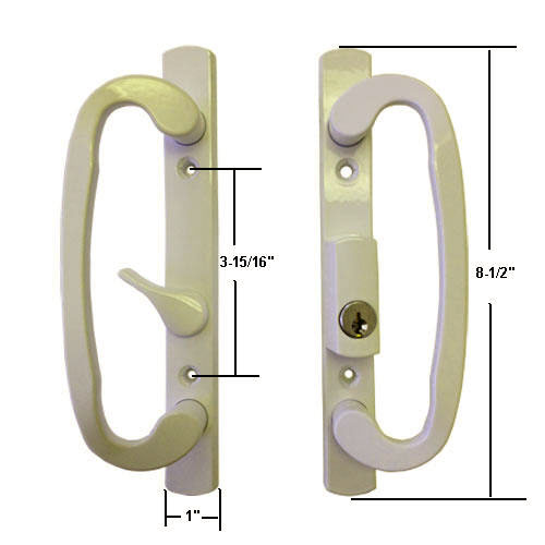"Sliding Glass Patio Door Handle Set, Mortise Type, B-Position, Latch Lever is Off-Centered, Keyed, Beige, 3-15/16"" Screw Holes"
