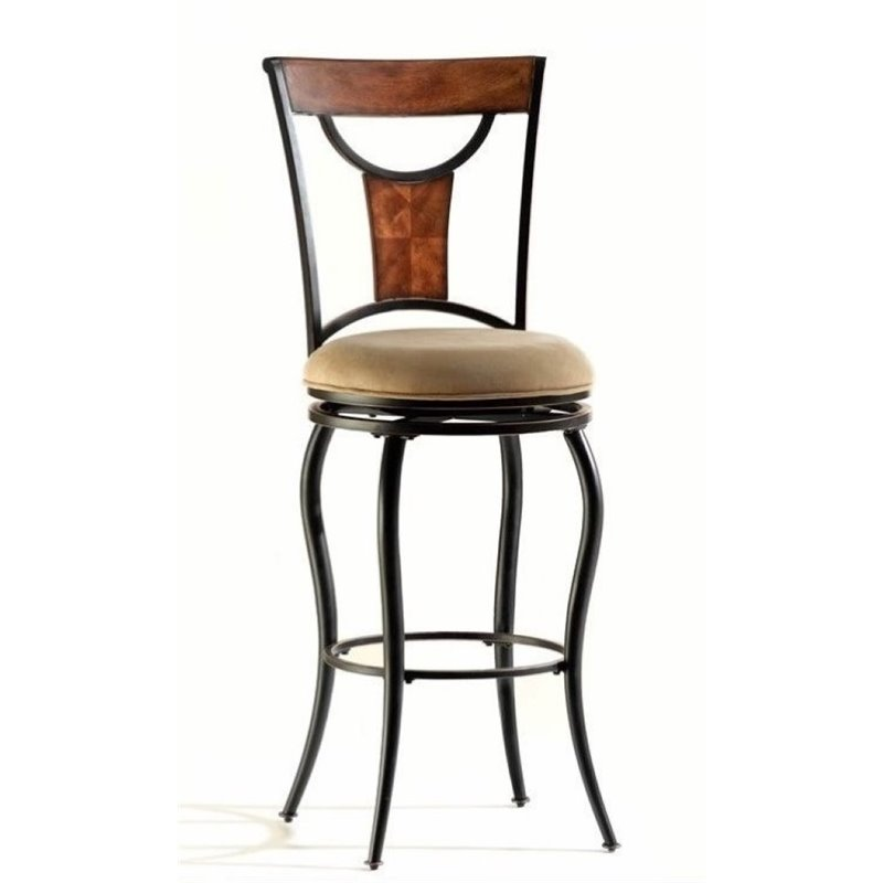 "Bowery Hill 30"" Swivel Bar Stool in Black"
