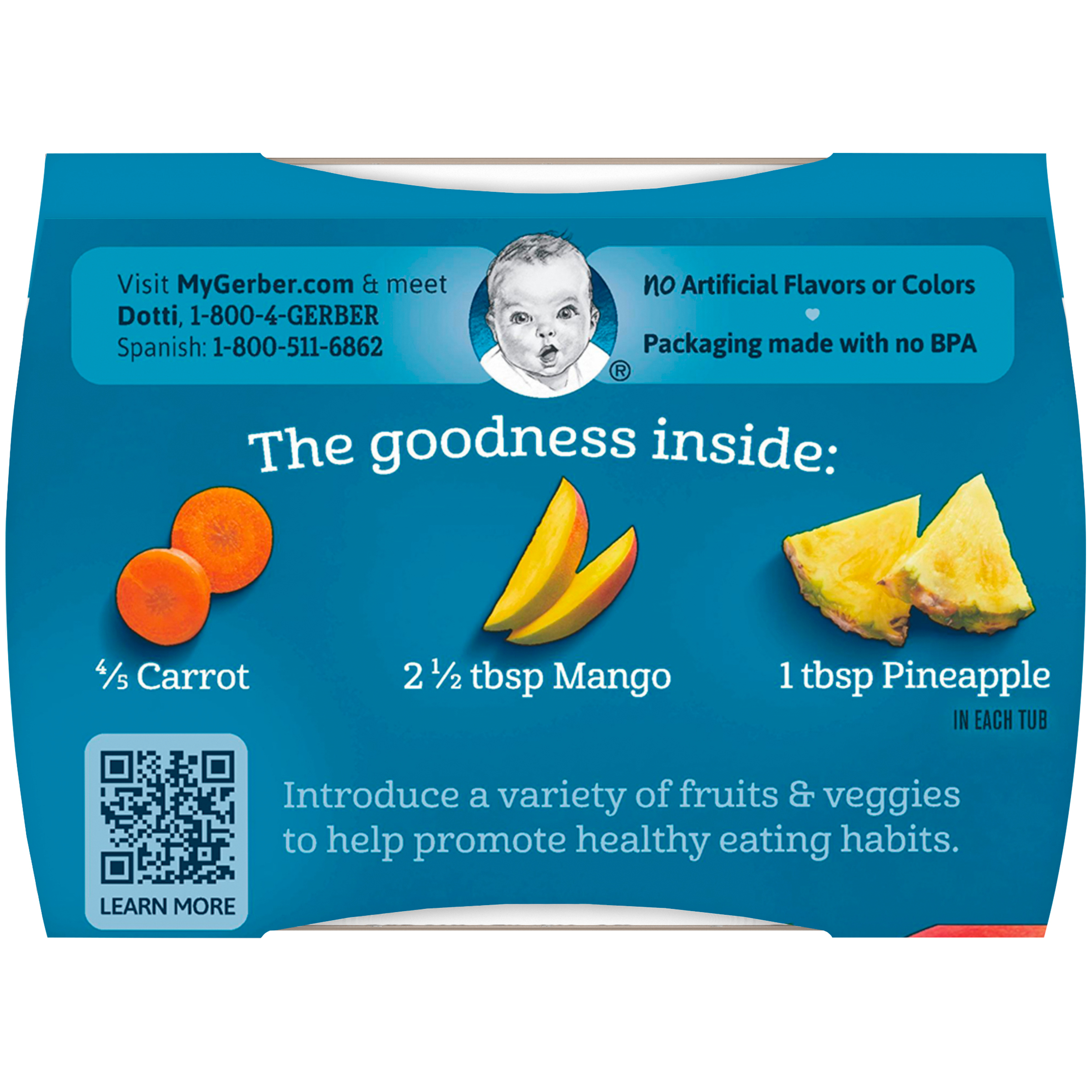 Gerber 2nd Foods Carrot Mango Pineapple Baby Food, 2-4 oz. Tubs ...