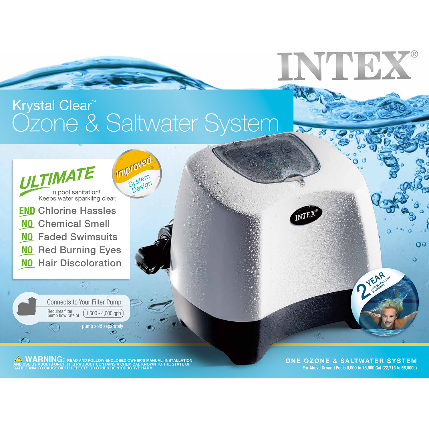 Intex Krystal Clear Ozone and Saltwater System for Ground