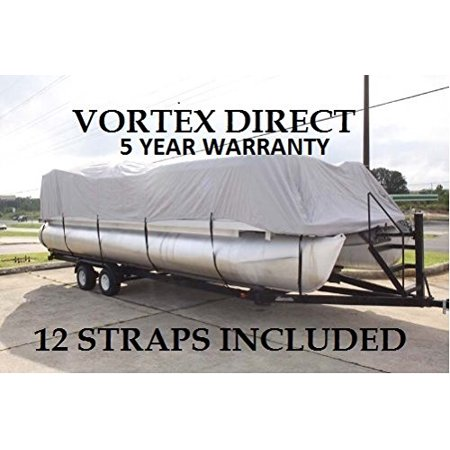 NEW GREY 26 FT VORTEX ULTRA 5 YEAR CANVAS PONTOON/DECK BOAT COVER, ELASTIC, STRAP SYSTEM, FITS 24'1