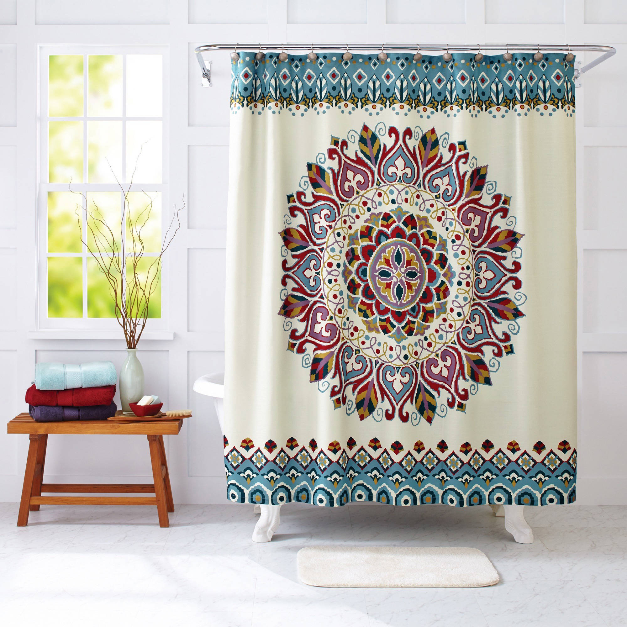 Mint green shower curtain and rugs - Better Homes And Gardens Medallion Fabric Shower Curtain