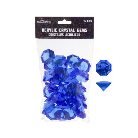 Mega Crafts - 1/2 lb Acrylic Large Diamonds Dark Blue | Plastic Glass Gems For Arts And Crafts, Vase Fillers And Table Scatters, Decoration Stones, Shiny Pebbles - Plastic Diamonds
