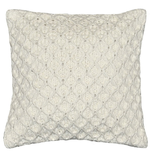 "Better Homes & Gardens Sweater Knit Decorative Throw Pillow, 17"" x 17"", Ivory"