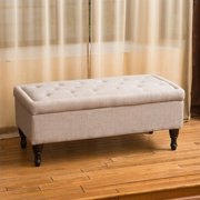 Noble House Jasmine Storage Ottoman in Mixed Grey