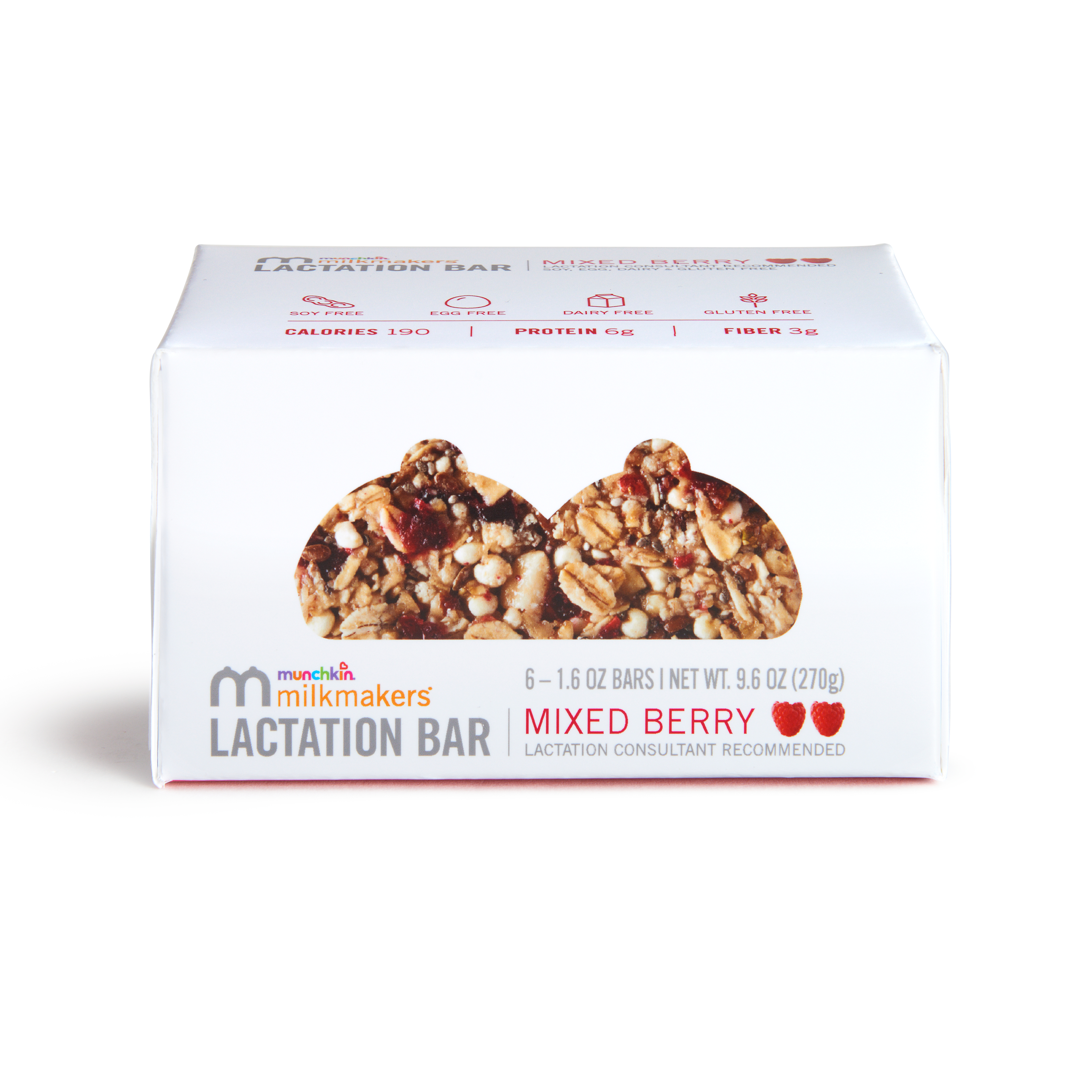 Milkmakers Lactation Bars, Mixed Berry, 6 Count