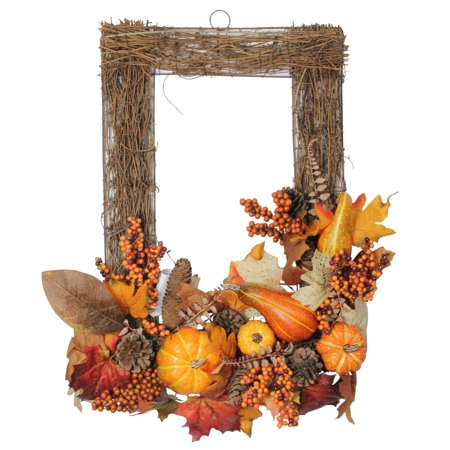 "24"" Berry, Pumpkin, Fall Foliage and Pine Cone Autumn Decorative Wall Frame - image 1 de 1"