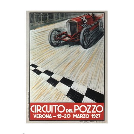 Competition Car Vintage Ad Poster Italy 1927 24X36 Racing Speed Sporty